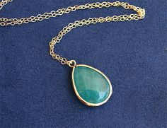 Emerald Green Teardrop Necklace - Stone Necklace on Gold Filled Chain - Bezel Set - Kelly Green Necklace