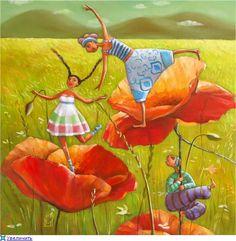 Tableau - Mariana Kalacheva - champ de coquelicots - été