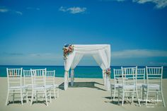 A romantic set up for an intimate beach ceremony in the south of Sardinia.