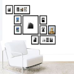 "Photo Wall Frame Kit - All in one system...to create a perfect photo gallery in minutes. Hanging Templates Included - Black Frame System - 1"" Moulding (other colors avail): Home & Kitchen"