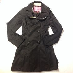 Betsy Johnson black coat  This coat has seen some wear and is missing it's belt but it's still completely adorable!  Has ruffles along the neckline with a splash of cream accent, black buttons down the opening (closes by button, no zipper.). Perfect addition for your fall and winter wardrobe! Betsey Johnson Jackets & Coats Trench Coats
