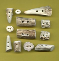 Deer Antler BUTTONS Toggles 12 piece Natural by AntlerQLWear