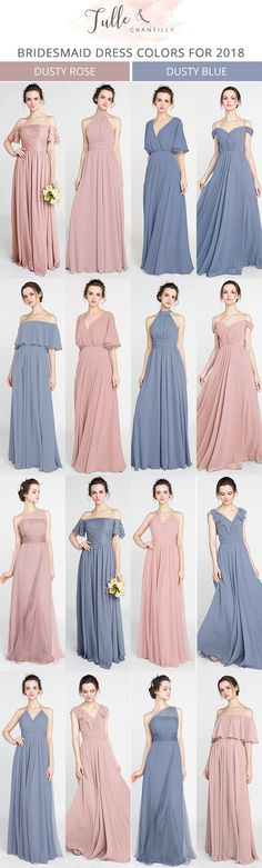 dusty rose and dusty blue bridesmaid dresses for 2018 #bridalparty #wedding #bridesmaiddresses