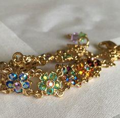 Vintage Crystal Flower Bracelet, Kirks Folly Flower Star Bracelet, Crystal…