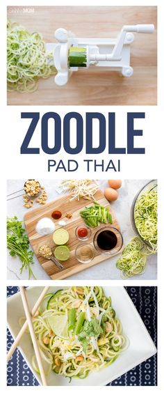 For 245 calories, you can cash in on this delicious and savory Asian-inspired dish, while saving tons of carbs and fats. Vegetarian Zoodle Recipes, Veggie Recipes, Bean Sprout Recipes, Zucchini Noodle Recipes, Yummy Recipes, Vegetarian Keto, Spiralizer Recipes, Thai Recipes, Veggetti Recipes