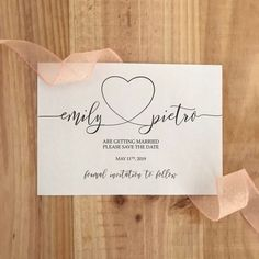 Calligraphy Save the Date with heart ♥