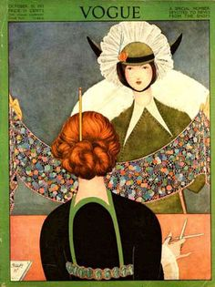 Vogue ~ October 15 1921 ~ It looks like a length of Liberty fabric she is holding ~
