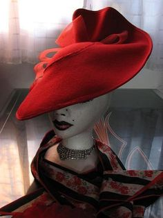 Avante Garde Vintage Deborah Red Wool Tilt Hat~Black & Red Feathers~Huge Bows #millinery #judithm #blocking Red Hat Ladies, Types Of Hats, Red Hat Society, Crazy Hats, Red Feather, Church Hats, Wearing A Hat, Love Hat, Red Hats