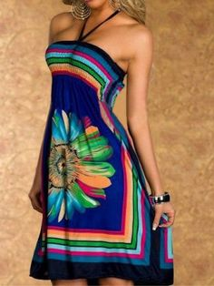 Bohemian Halter Floral Print A-Line Dress For Women