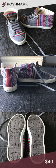 EUC Inkkas Sneakers!! EUC - Like New!! Inkkas High Top Sneakers with colorful textile design on dark grey. Mens Size 4/Womens Size 6. Handmade in Peru. Shoes Sneakers