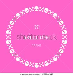 Skull and Bones Pink Frame  - stock vector