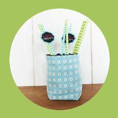Mini Cache-pot tissu pour mini plante / pot crayon Tissus vagues noirs et fleurs bleues glacier : Accessoires de maison par zig-et-zag