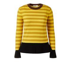 Orla Kiely Striped Peplum Sweater  Neat fit stripe sweater with contrast Olive or Brown rib neck, black rib cuffs and Peplum waistband.