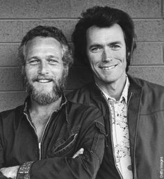 Paul Newman poses with Clint Eastwood outside a motel in Tucson, Arizona in 1972
