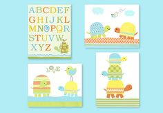 Turtle Nursery Art, Blue Green Orange Yellow, Alphabet Nursery Art, Boy's Room Decor, Children, Toddler, Pond Nursery, Baby Boy, Canvas Art