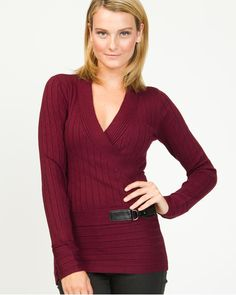 Viscose Blend Ribbed Faux-Wrap Sweater