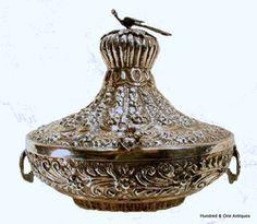 Islamic Turkish Ottoman Silver Repousse Box 19th c