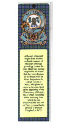 MacEwan Clan Badge Clan MacEwan Tartan Laminated Bookmarks Set of 2 - For Everything Genealogy