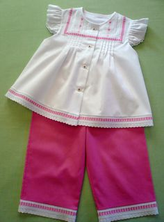 February School of Art and Fashion: Lacy Pique Swing Top and Capri's Gail Doane - 2 Days (Hand & Machine) Little Girl Outfits, Little Dresses, Girls Dresses, Midi Dresses, Kids Clothes Patterns, Baby Girl Dress Patterns, American Doll Clothes, American Dolls, Girl Clothing