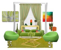 """""""Summery green home"""" by rhaxkido ❤ liked on Polyvore featuring interior, interiors, interior design, home, home decor, interior decorating, Ellis Curtain, Nodus, Moooi and Progetti"""
