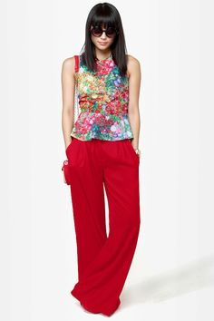 Key to the City Red Wide-Leg Pants