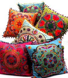 Shop Mood Board •~• jewel tones pillows