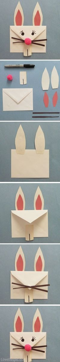 DIY Bunny Envelope. Click on image for more.