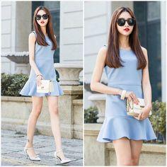 Shalex Eplum Hem Sleevesless Dress   Blue