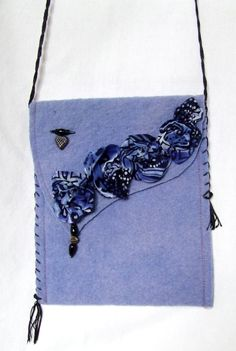 Blue Black BOHO SHOULDER BAG for day or evening, hand dyed wool blend fabric, embellished with flowers beads jewelry, hand embroidery by TheNomadsNeedle on Etsy