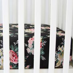 Black Floral Crib Sheet
