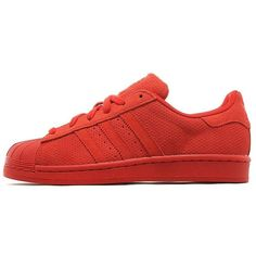adidas Originals Superstar RT Women's ($100) ❤ liked on Polyvore featuring shoes, sneakers, adidas, red, zig zag shoes, red sneakers, red trainer, red wing sneakers and winged sneakers
