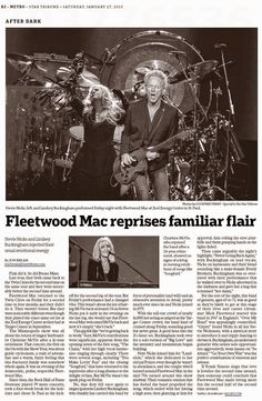 FLEETWOOD MAC NEWS: Reviews: Fleetwood Mac return to the Twin Cities January 16, 2015
