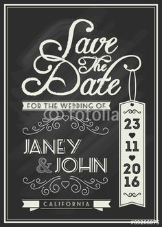 """Download the royalty-free vector """"Save the date card template design with typography and flourish line art on chalkboard theme for vintage wedding invitation"""" designed by ironear at the lowest price on Fotolia.com. Browse our cheap image bank online to find the perfect stock vector for your marketing projects!"""