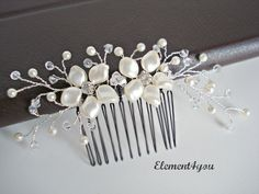 Bridal comb, Ivory pearls hair piece, Wedding hair accessories, White pearls hair comb, Flower hair vines, Silver or gold wire, Beaded comb. via Etsy.