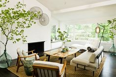 Jessica Helgerson Interior Design - living rooms - built-in, window seat, white, brick, fireplace, mid-century, sofa, chairs, white, tufted, chaise lounge, rustic, coffee table, jute, rug, mide century modern living room,