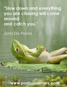 """Slow Down and everything you are chasing will come around and catch you."""