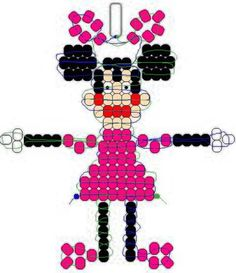 Minnie Mouse beadie pattern more cuteness Pony Bead Projects, Pony Bead Crafts, Beaded Crafts, Beading Projects, Beading Tutorials, Pony Bead Patterns, Beaded Jewelry Patterns, Beading Patterns, Bracelet Patterns