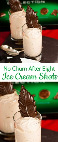 Delicious no churn chocolate mint After Eight ice cream shots are the perfect easy to make dessert. Serve straight from the freezer and gluten free. Frozen Desserts, Summer Desserts, Frozen Treats, Christmas Desserts, Christmas Baking, Christmas Treats, Christmas Recipes, Mint Desserts, Christmas Foods