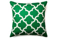Bring a Moroccan vibe to your deck or patio with this pillow featuring a Moorish lattice pattern rendered in green and white. Outdoor Rugs, Outdoor Pool, Outdoor Living, Outdoor Pillow, Outdoor Decor, Bright Pillows, Throw Pillows, Ceramic Lantern, Devine Design