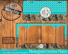 #EtsyGifts Aqua Teal Monogram License Plate Frame Holder by BlingSity on Etsy