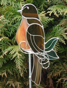 Red Breasted Robin Garden Stake by theglassmenagerie on Etsy, $18.00