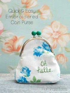 with vintage hankies Embroidered Coin Purse @Adrienne Raptis-To-Sew.com