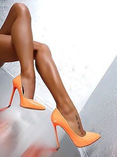 MADE IN ITALY CLASSIC LUXUS PIGALLE HIGH HEELS A79 PUMPS SCHUHE LEDER ORANGE 35