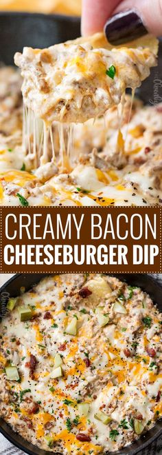 Creamy Skillet Bacon Cheeseburger Dip - The Chunky Chef Sure to be the MVP of any party, this bacon cheeseburger dip is creamy and tastes just like a gooey cheeseburger! Everyone will want the recipe! Appetizer Dips, Yummy Appetizers, Appetizers For Party, Appetizer Recipes, Party Dips, Party Desserts, Party Snacks, Party Party, Cheese Burger
