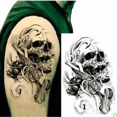 Black Death Skull Head Shoulder Waterproof Temporary Tattoo for Men