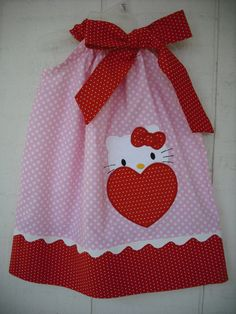 Valentine's Day Hello Kitty Heart Pillowcase by MyDaughtersShop,