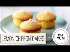 Mini Lemon Chiffon Cakes - Oh Yum with Anna Olson Anna Olson, Mini Cakes, Cupcake Cakes, Bundt Cakes, Cup Cakes, Party Desserts, Dessert Recipes, Cake Recipes, Fruity Cupcakes