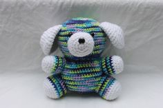 "crochet 6 1/2 multi colored white surprise puppy dog pup animal amigurumi stuffed toy pet crocheted m via EtsyClick ""Like"" See more crochet patterns: https://www.etsy.com/shop/Patternstriedandtrue Find my  blog for tips: http://patternstriedandtrue.org"