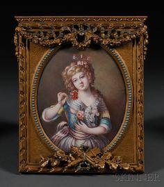 Framed Enamel on Copper Portrait of a Maiden, France, 19th century