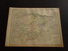 Over 118 year old map of Spain 1896 antique by VintageOldMaps